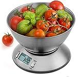 Uten Báscula digital de cocina con cuenco desmontable de acero inoxidable, 11 lb/5 kg, con sensor de temperatura ambiente y básculas de cocina de precisión