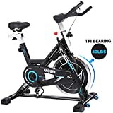 ANCHEER Indoor Cycling Bike Stationary Exercise Bikes, 49LBS Silent Belt Drive Chromed Flywheel with LCD Monitor, IPAD Holder, Caged Pedals, Adjustable Seat Cushion & Handlebar & Base for Home Workout