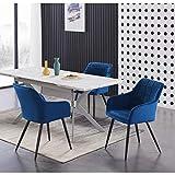 Life Interiors: Blaze Table & Camden Juego de comedor de terciopelo   Sillas acolchadas   Mesa de comedor blanco/gris   Mesa de comedor moderna   Juego de mesa de comedor   Azul real