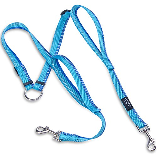 PETBABA Double Dog Leash Coupler, 2.5ft Adjustable Tangle Free Dual Split with Traffic Handle, Reflective Two Splitter Safety at Night, 2 Way Lead Walk Two Pet in 1 in Blue
