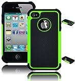 Bastex Hybrid Hard Soft Armor Case Cover for Apple iPhone 4 / 4s - Green/Black