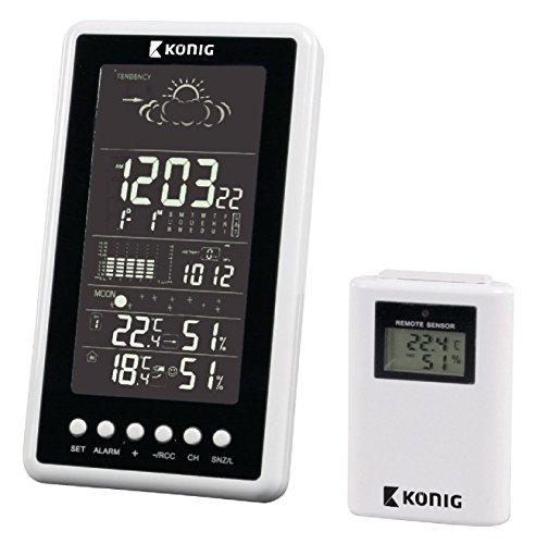 Wetterstation mit Sonde, S/Faden, für Innen- und Außenbereich, Hygrometer, Barometer, Wecker