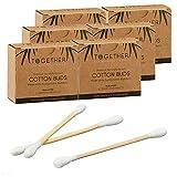 1200 bastoncini di ovatta in bambù, senza plastica, biodegradabili (1 x 1200 bastoncini di cotone senza decorazione)
