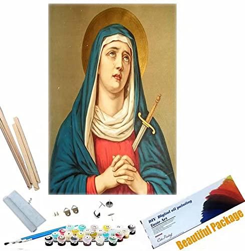 Beaxqb {Cornice Fai da Te} Dipingere con i Numeri Adulti Cultura Religiosa DIY Acrilico Dipinto Kit per Adulti e Bambini Ideale Regalo per Bambini Adulti 40x50cm