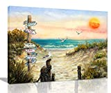 Bathroom Decor Wall Art Pictures For Bedroom Wall Decor Beach Decorations For Home Ocean Decor Themed Canvas Wall Art Teen Room Decor Apartment Decor For Women Sea Seagull Road Sign Sunrise Size 12x16
