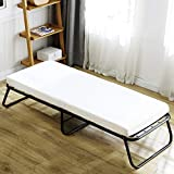TATAGO Lightweight Rollaway Folding Bed with Soft Foam Mattress, Guest Bed Cot, Extra 2PCS Load-Bearing Belts, Easy Storage for Office, Bedroom& Hunting