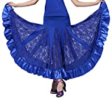 Mujer Profesional Falda de Encaje Grande Vestido de Baile De Flamenco Tango Salsa Latin Talla única Azul Zafiro