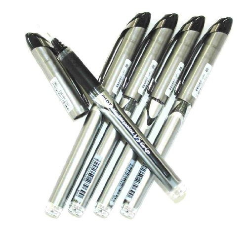 Pilot Hi-tec-point V5 Stick Rolling Ball Pens,eXtra Fine Point,rubber Grip Type,-0.5mm-black Ink-value Set of 5(with Our Shop Original Description of Goods)