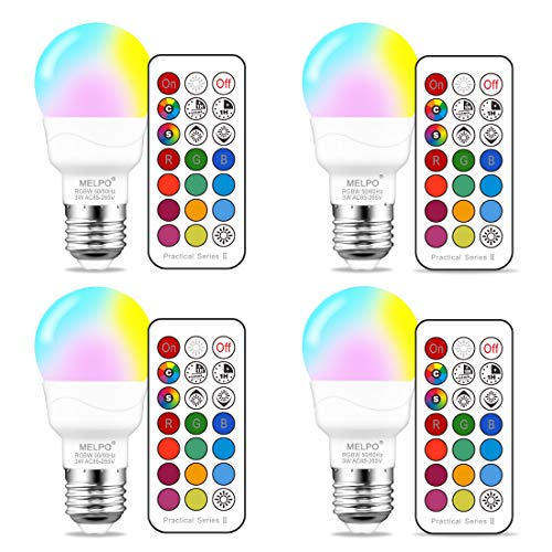 E26 Timer LED Color Changing Light Bulb with Remote Control, RGBW (RGB + Warm White),40 Watt Equivalent, Memory - Sync - Dimmable,3W Mood Light.