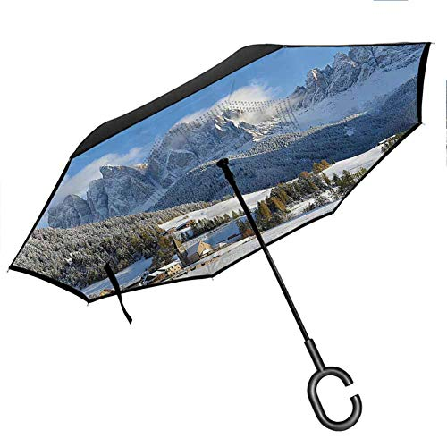 Apartment Decor Collection Anti-UV Waterproof Windproof Straight Umbrella for Car Rain Outdoor Use Mountain Village Scenery in Winter with Snow Peaks Northern Zone Spot Alps Photo White Blue Green