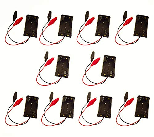 GTIWUNG 10 Piezas 3V AA Caja de Soporte de Batería con Crocodile Clip(2 Solts) + 2 Piezas 18650 Caja de Almacenamiento de Batería de Plástico
