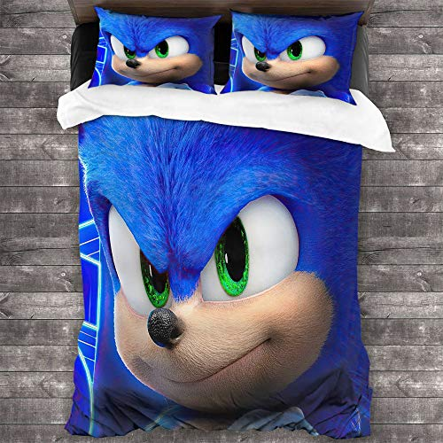 FOCLKEDS Anime Sonic The Hedgehog Twin Bedding Microfiber Sheet Set 3 Piece Bed Sheets Games Anime Cartoon Sonic Hedgehog Bedding Easy Care Bedding Cover Light Weight Us Twin (172cmx218cm)
