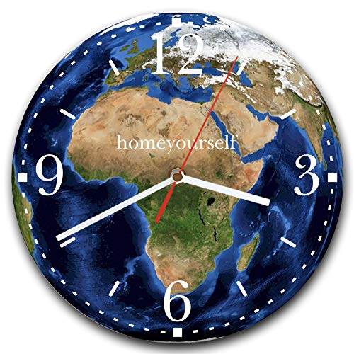 Homeyourself LAUTLOSE Runde Wanduhr Erde Welt Globus blau Planet aus Metall Alu-Verbund lautlos Uhrwerk rund modern Dekoschild Bild 30 x 30cm