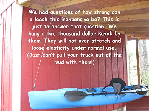 Campingandkayaking Made in The USA! NO Hook & Loop to Fail! Paddle Leash with a 2 Rod Leash Set, 3 Black Leashes Total… 9 3 black gear leashes included, 1 for the paddle, 2 additional leashes for rods or other light gear. If a super long leash is needed, they simply loop together, (See the picture of the loops) Fixed elongation, Will not over stretch and loose elasticity. Woven construction and long bar-tack sewn, Built to last. 20 inches of elongation keeps it out of the way but gives you the reach you need when paddling or reeling in the big one.