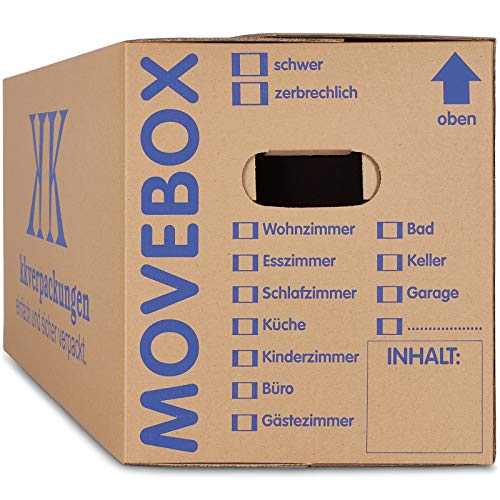 10 x Umzugskartons Movebox 2-wellig doppelter Boden in Profi Qualität 634 x 290 x 326 mm