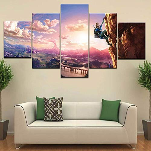 Stampa a 5 Pannelli The Legend of Zelda Breath of The Wild Poster su Tela Poster Nuove Immagini di Gioco per la Decorazione della Parete della Camera dei Bambini