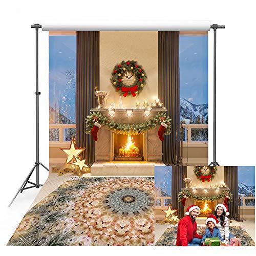 150 x 220 cm Telón de fondo de Navidad Chimenea Interior Alfombra Fondo Fotografía Telón de fondo para Navidad Familia Fiesta Decoración Estudio Props XT-7403
