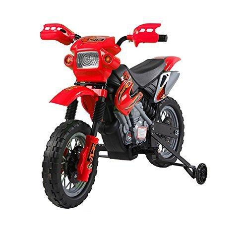 homcom Moto Cross Elettrica con Rotelle Rosso per Bambini 3 Anni e più 102 x 53 x 66cm