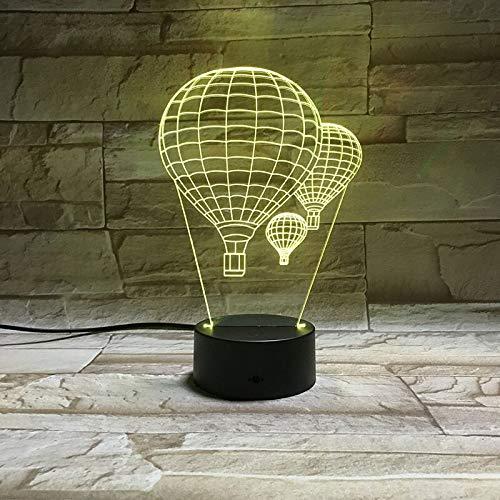 Solo 1 pieza Globo de aire caliente Lámpara 3D Regalo maravilloso para niños Óptico 3D Impresionante decorativo para escritorio Usb Led Lámpara de luz nocturna Entrega rápida