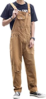 Cffvdiz Men's Bib Overalls Ripped Casual Jeans Straight-Leg Pants