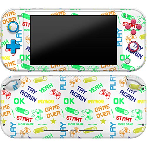 Cavka Vinyl Decals for Nintendo Skin Switch Lite (2019) Sticker with Design Gaming Quotes Print Cover Protector Wrap Durable Full Set Protection Faceplate Colored Text Game Over Cute Colorful Teens