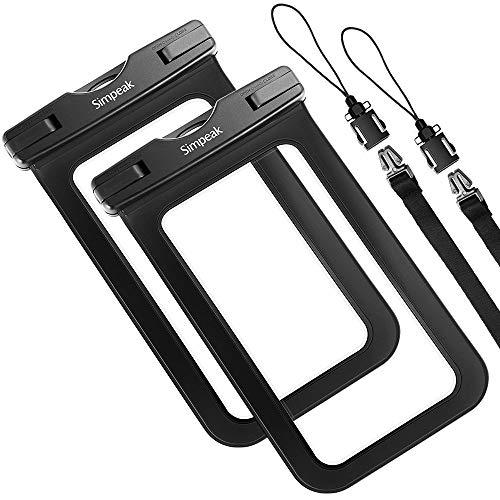 Simpeak 2-Packs Funda Compatible con Impermeable Movil Universal 6.5 Pulgadas, Bolsa Estanca Movil Universal Sumergible Compatible con iPhone, etc- Negro