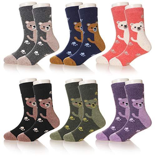Eocom 6 Pairs Children's Winter Warm Wool Socks Kids Boys Girls Socks (8-12 Years, Bear-A)