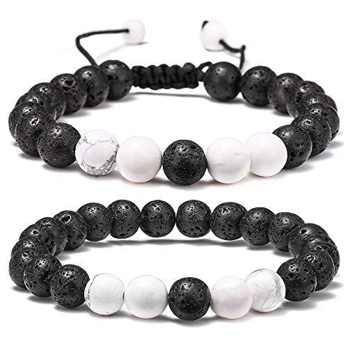 Lava Rock Bracelet - 8mm Lava Rock Bead White Turquoise Anxiety Bracelet, Men Women Stress Relief Yoga Beads Aromatherapy Essential Oil Diffuser Healing Bracelets