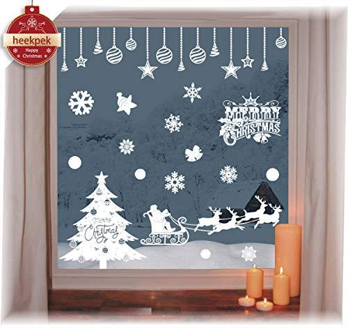 heekpek Pegatinas de Ventana de Puerta de Navidad Blanca Grande árbol de Navidad Santa Claus Pegatina de Navidad...