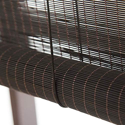PUZZLEYM Premium-Jalousien Roll-Up-Jalousien for Deck Yard Pavillon Pergola Veranda Carport Wintergarten Pavillon Schokoladenbraun Bambus-Rollo Kann in verschiedenen Größen angepasst Werden