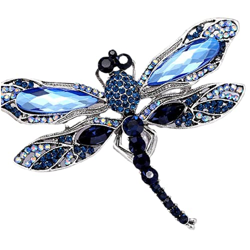 Broches De Libélula Vintage De Cristal Azul Para Mujer, Broches De Insectos A La Moda, Accesorios De Abrigo, Joyería De Animales, Azul