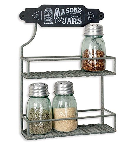 Colonial Tin Works 370077T Wire Mason Jar Two Tier Hanging Spice Rack Kitchen Supplies 8#039#039W x 3#039#039D x 11½#039#039H Gray