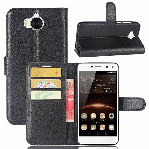 COPHONE Handyhülle Schwarz Kompatibel Huawei Y6 2017 Hülle Leder, Huawei Y6 2017 Klapphülle Handytasche Hülle für Huawei Y6 2017 Handy Hüllen