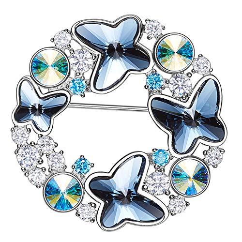 AmDxD Glänzend Broschen Schmetterling Form Brosche Pin Unisex Broschennadel Abendkleid Hemd mit Blau Zirkonia