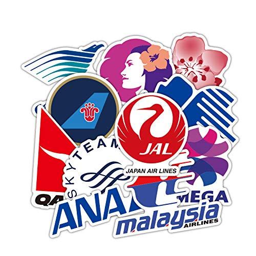 yunkanda 52 Piezas De La Aerol/ínea Logo Pegatinas Viaje De Aviaci/ón Viaje para El Equipaje del Ordenador Port/átil Coche Moto PVC Pegatina Impermeable