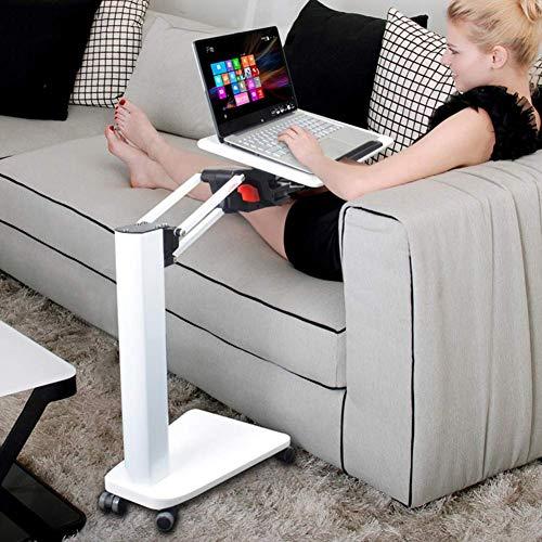 AOLI Laptop Stand ajustable de escritorio con ruedas multifuncional para cama y sofá-cama giratoria del escritorio del ordenador portátil de escritorio,Blanco