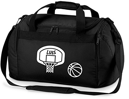 gepersonaliseerde sporttas met naam bedrukt | motief basketbal en mand | sportmotief reistas om om te hangen