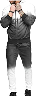 Maweisong Men Tracksuit Outfit Gradient Suit Contrast Jogging Full Sweatsuit Zipper Hoodies