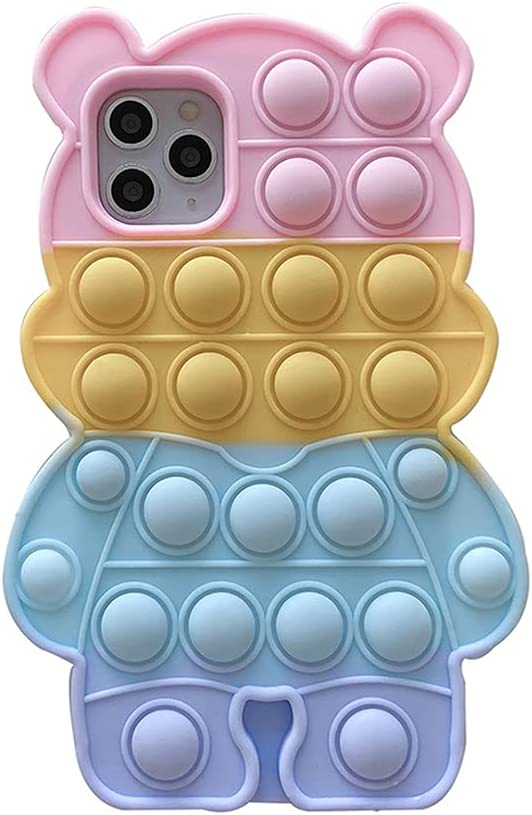 iPhone 12/12 Pro Case, Allkwookry Push Pop Bubble Fidget Toy 3D Animation Design Silicone Mobile Case, Suitable for iPhone 12/12 Pro Mobile Phone .(6.1) (Bear Color)