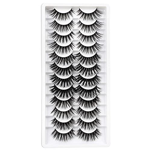 12 Pairs False Eyelashes 3 Styles Fake Eyelashes Natural Faux Mink Lashes 3D Handmade Eyelashes Pack