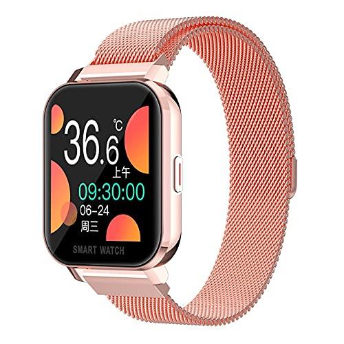 1.54 Pulgadas HD Smart Watch Hombres Monitoreo en Tiempo Real de la Temperatura Corporal Tiempo Tasa del corazón Deporte Smartwatch para Android (Color : Pink Steel Strap)