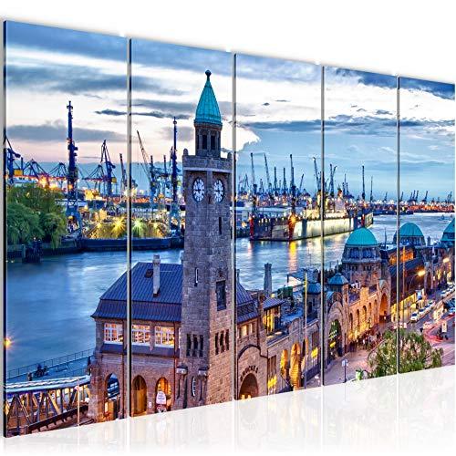 Bilder Hamburg Wandbild 200 x 80 cm Vlies - Leinwand Bild XXL Format Wandbilder Wohnzimmer Wohnung Deko Kunstdrucke Blau 5 Teilig - MADE IN GERMANY - Fertig zum Aufhängen 603055a