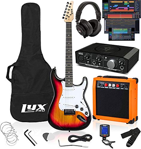 LyxPro Full Size Electric Guitar Sunburst with 20w Amp Package, Mackie Onyx Artist 2-2 Audio/Midi interface With Pro Tools First/Tracktion Music Production Software Kit With Professional Headphones