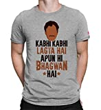 PrintOctopus Men's and Women's Cotton Graphic Printed Sacred Games Kabhi Kabhi Lagta Hai Apun Hi Bhagwan Hai Short Half Sleeve Round Neck T-shirt (Grey, Small)