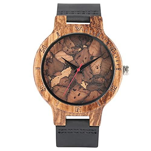 FFHJHJ Relojes de Madera Reloj de Cuarzo Hombres Bamboo Reloj de Pulsera Moderno Analógico Naturaleza Madera Moda Cuero Suave Regalos de cumpleaños creativos, E