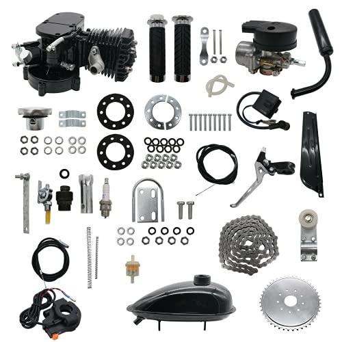 OUNUO 80CC Fits 26' 28' Bicycle Engine Kit, Bike Bicycle Motorized 2 Stroke Petrol Gas Motor Engine Kit Full Set (Black-upgraded version)