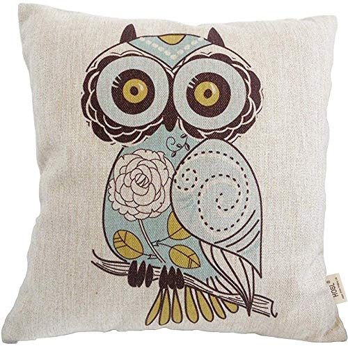 Hosl Square Throw Pillow Case Cushion Cover Cartoon Green Cute Cartoon Owl...