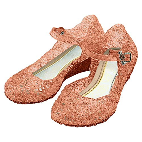 Katara ES10 Scarpe Tacco Principessa Elsa Cenerentola Bambine Costumi Carnevale Halloween EU 33 (20cm) - rosa