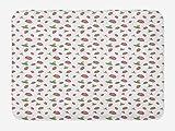ABAKUHAUS Fruta Tapete para Baño, Fresas manchados Coloridos, Decorativo de Felpa Estampada con Dorso Antideslizante, 45 cm x 75 cm, Blanca Rosa pálido Color Caqui