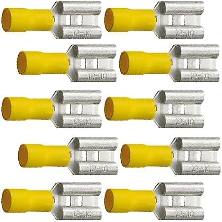 10 Teilisolierte Flachsteckhülsen 9 5x1 1 Gelb 4 0 Bis 6 0 Mm Auto